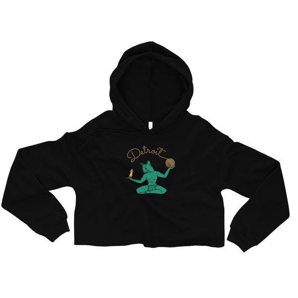 Cat Spirit of Detroit Women's Crop Hoodie