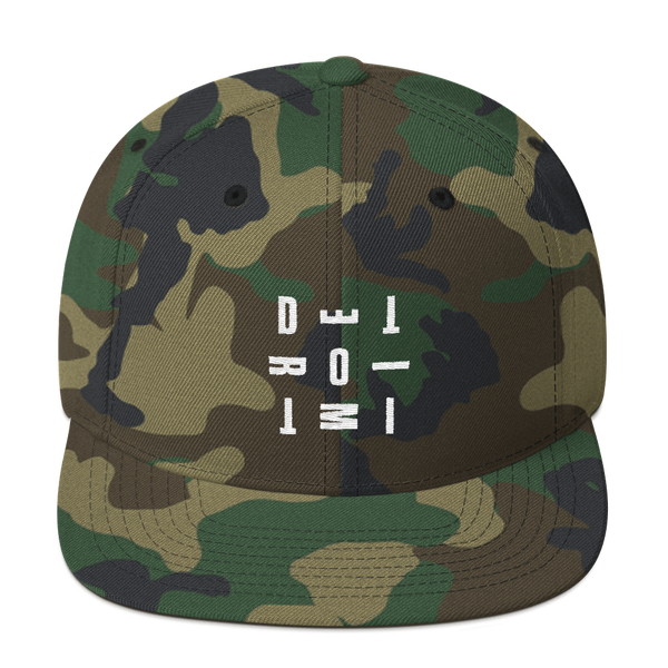 DETROIT MI Typography Embroidered Snapback Hat Camo