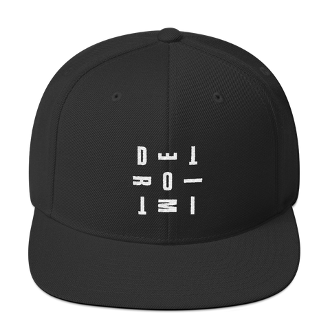 DETROIT MI Typography Embroidered Snapback Hat Solid