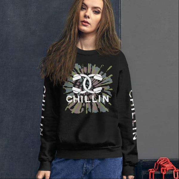Chillin Headphones Couture Tie-Dye Sweatshirt with Sleeve Print | I Club Detroit