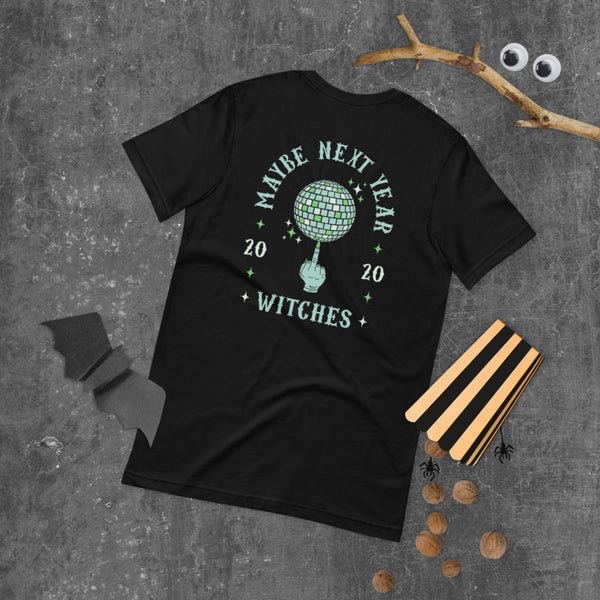 Witch's Middle Finger Spinning Disco Ball Graphic Tee Halloween Flat Lay | I Club Detroit