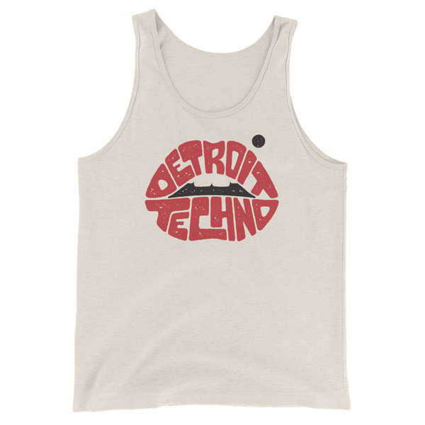 Detroit Techno Lips Unisex Tank Top Oatmeal Triblend | I Club Detroit