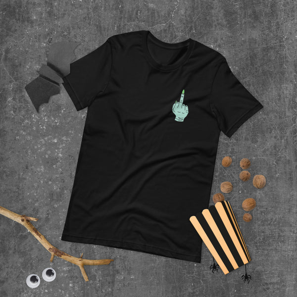 Witch's Green Middle Finger Left Chest Print T-Shirt Halloween Flat Lay | I Club Detroit