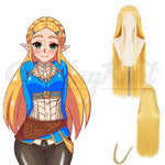 Zelda Princess Wig - Breath Of Wild Princess Zelda 80cm Long Blonde Hair Heat Resistant Cosplay Wig