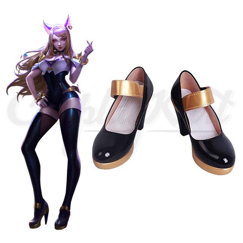 Kda Ahri Shoes - Leather High Heel  Lol K/DA Purple Black Shoes For Women Ladies Girls Shoes