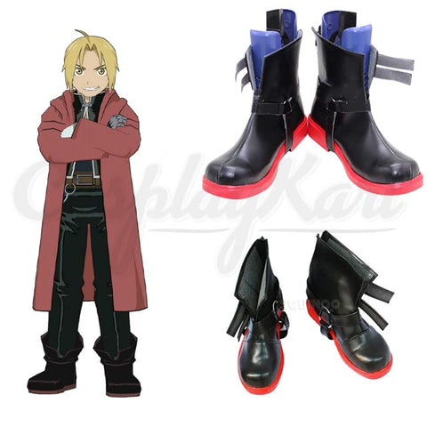 Edward Elric Shoes - Elric Men Leather Boots Shoes Cosplay EU US Size