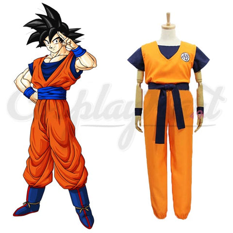 Goku Kids Costume - Unicorn Dragon Ball Suit Wigs Costumes For Adults Shirts+Trousers+Belt+Wristband