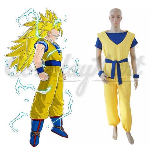 Goku Kids Costume - Golden Dragon Ball Son Goku Costume, Super Siyan 3 Goku Costume