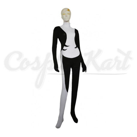 Minda Cosplay - Black & White Spandex Hallween Party Zentai Suit Costume