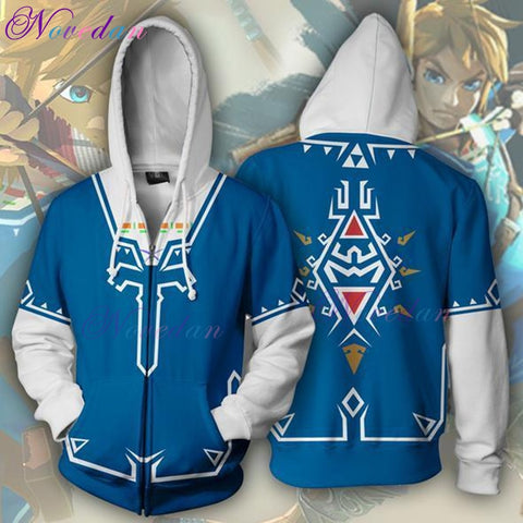 Zelda Cosplay - The Legend Of Zelda 3D Man Zipper Hoodie Cosplay Costume