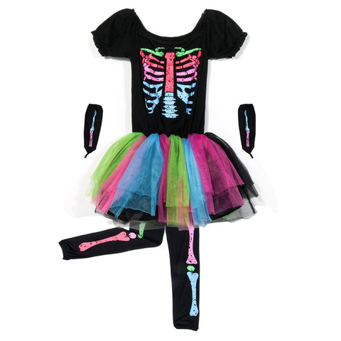 Skull Kid Cosplay - Colorful Skelton For Girls Kids Funky Punky Bones Rainbow Costume