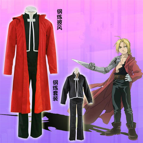 Edword Elric Cosplay -  Fullmetal Edward Elric Black Top + Red Coat Costume
