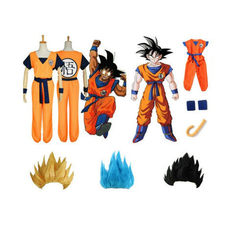 Goku Kids Costume - Boys Girls Dragon Ball Costume Wig Sen Ru Anime Cosplay