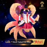 Star Guardian Ahri Wigs - The Magic Girl Nice-Tailed Fox Ahri Female Dress Tails Outfit Costume