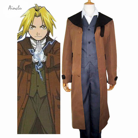 Edword Elric Cosplay - Ainclu Customize For Adults And Kids Costume Brown Full Metal Coffee Brand Costume