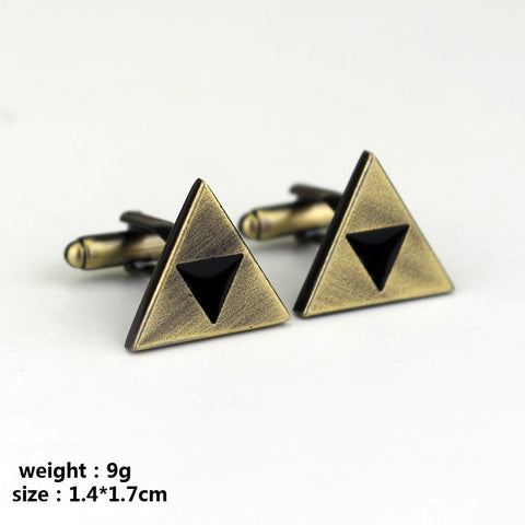 Zelda Props - Triangle Cufflinks Man Boys Button Pins For Cloths