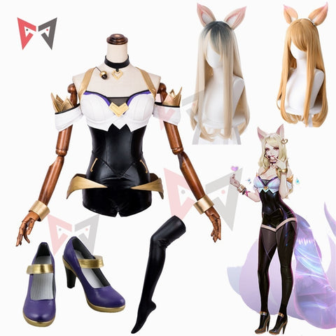 Sebastian Michaelis Cosplay - Ahri KDA Group Women Leather Jumpsuit Stockings  Wig + Ear + Shoes Costume Size