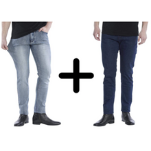Load image into Gallery viewer, 2 x The Perfect Jeans: Dark Blue + Grey Denim