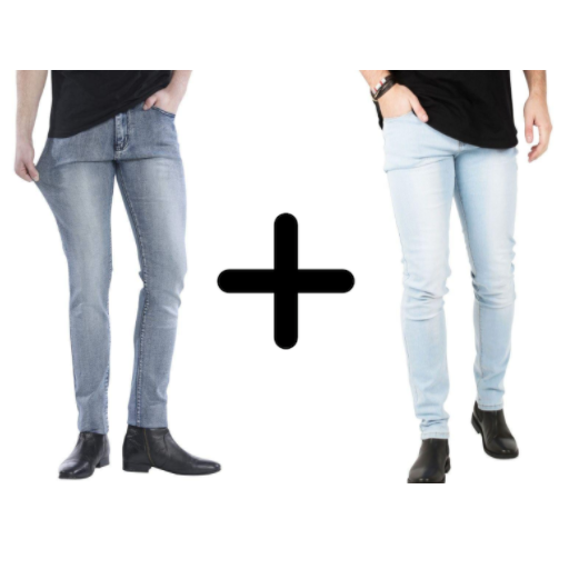 2 x The Perfect Jeans: Grey Denim + Light Blue