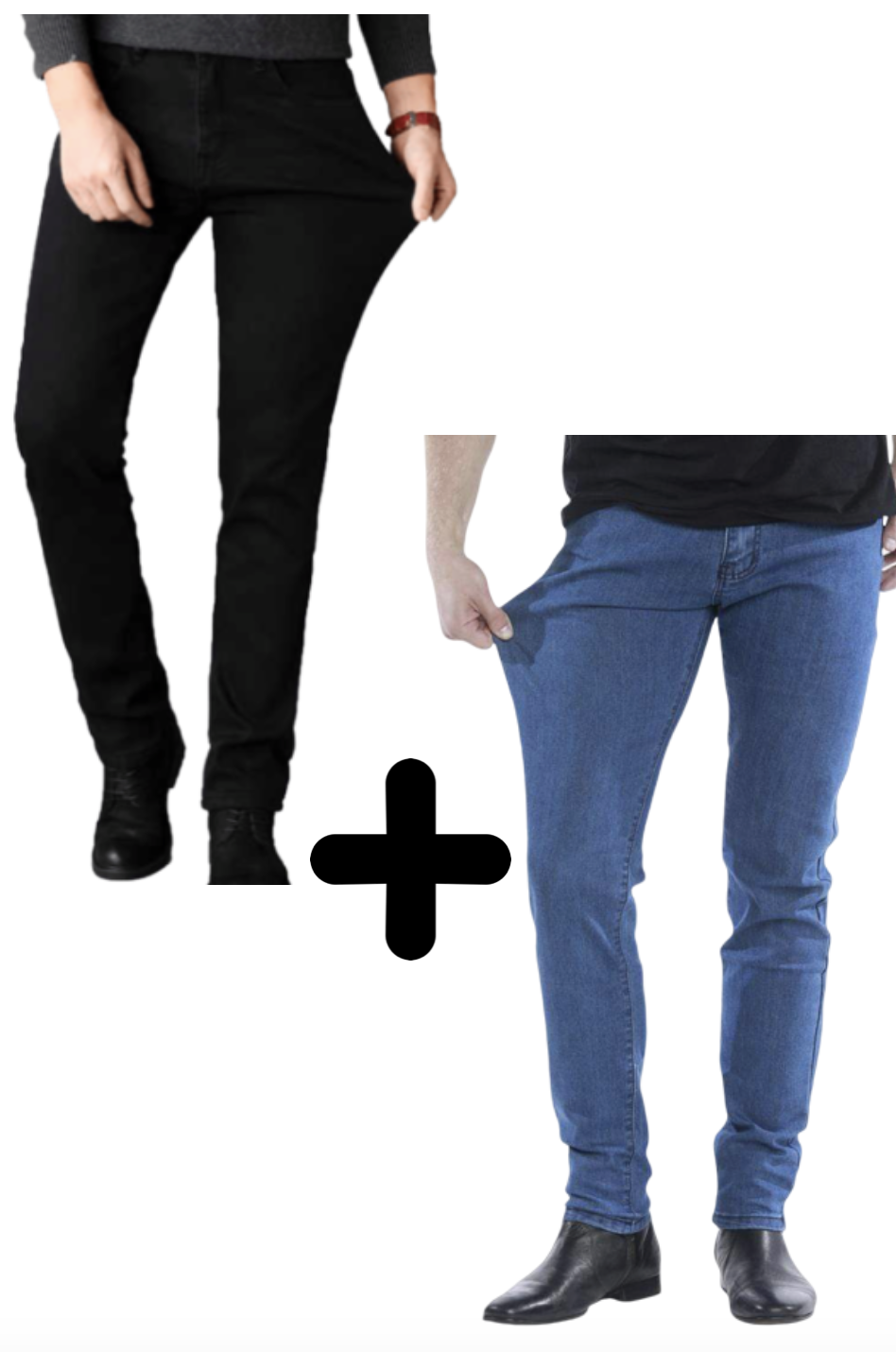 2 x The Perfect Jeans: Denim Blue + Black