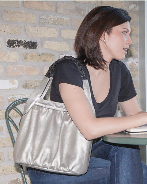 Grey Ruched Leather Tote