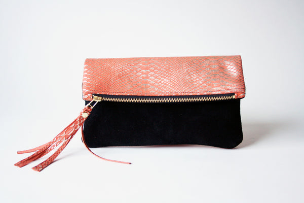 Clutch in Snake Embossed Two Tone Fold Over