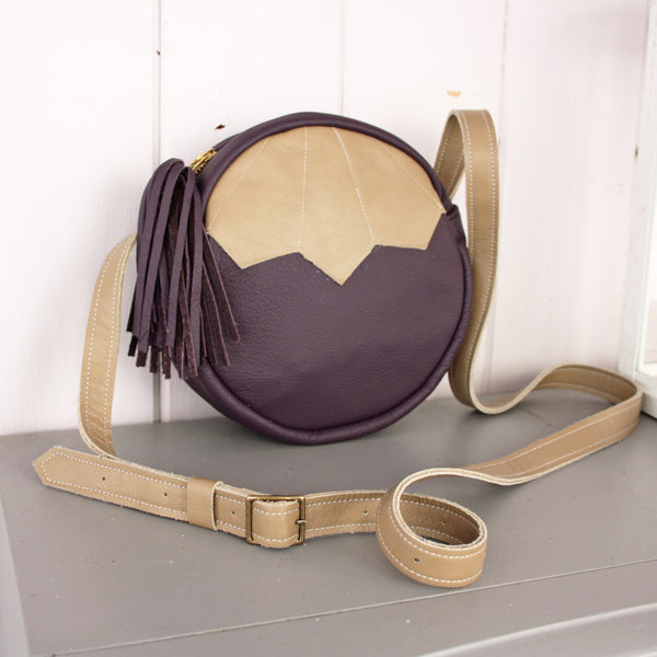 Barbara + Cecile Leather handbag plum + tan
