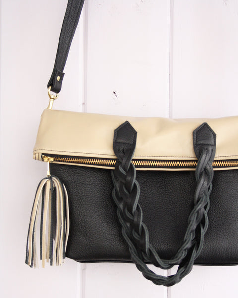 Convertible cross-body leather tote bag - black and tan