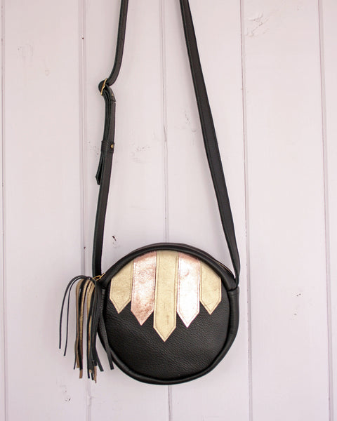 Barbara + Cecile black and metallic leather bag