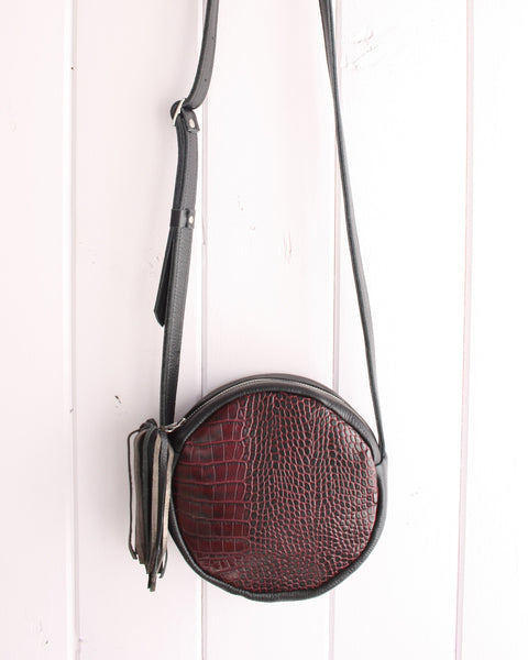 Round Cross-Body Bag in Black + Embossed Alligator