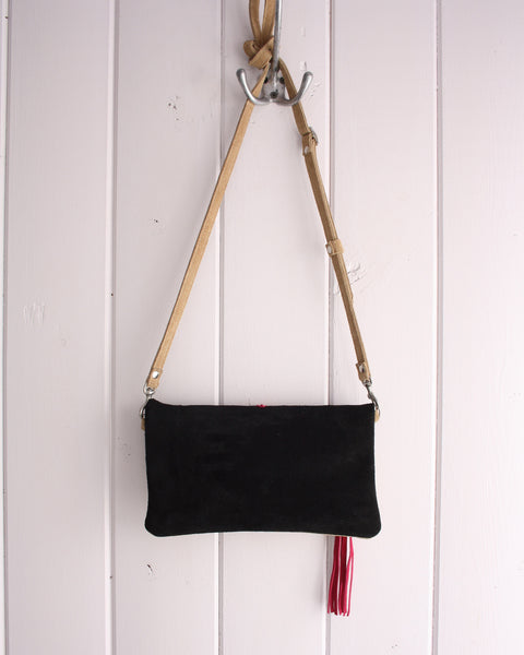 Clutch/Crossbody zip - Metis inspired suede clutch, two-tone black and tan with fuchsia