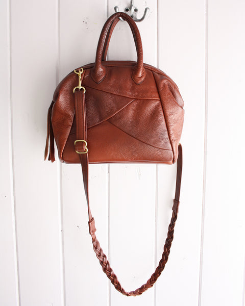 brown leather unique handmade bag, made in canada