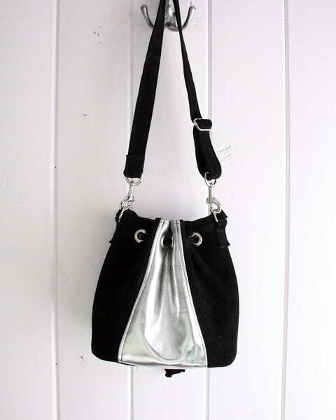 Mirror Silver and Suede Leather Bucket Bag