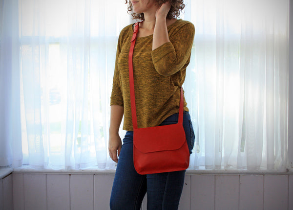 handmade red leather cross body bag