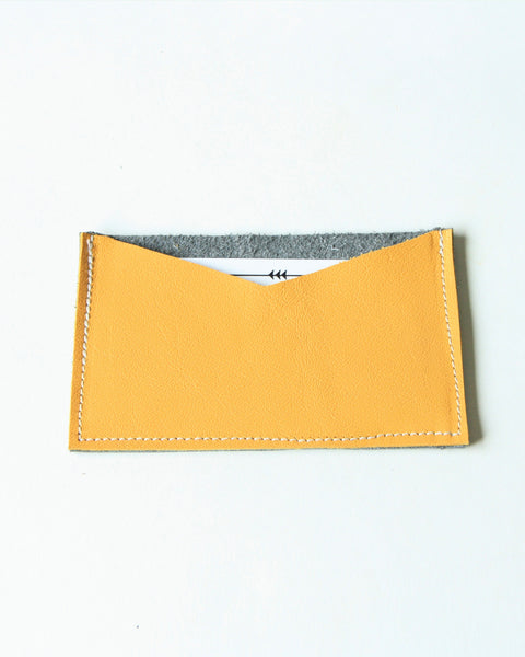 card wallet - yellow + grey leather