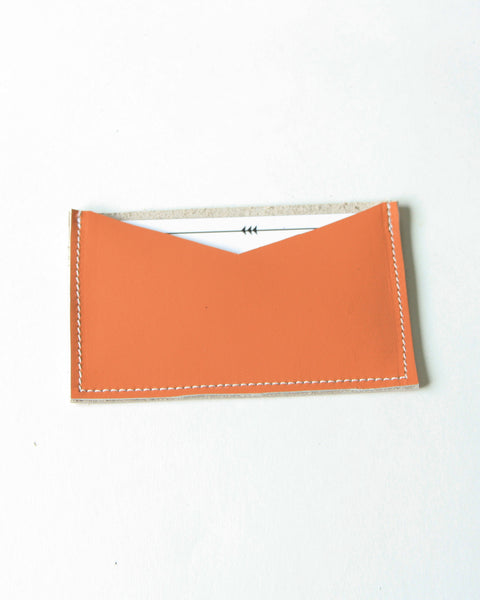 card wallet - orange leather