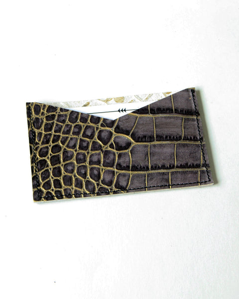 card wallet - gold + grey gator embossed leather