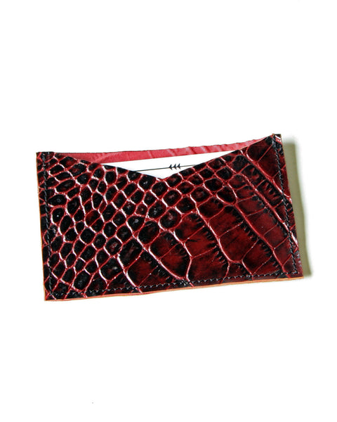 card wallet - burgundy gator embossed leather