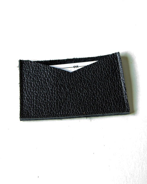 card wallet - black pebble leather