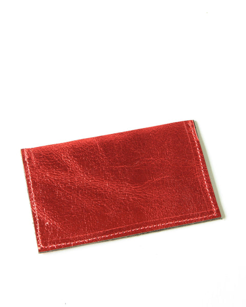 card wallet - metallic red leather