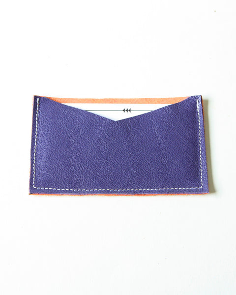 card wallet - purple + orange metallic leather