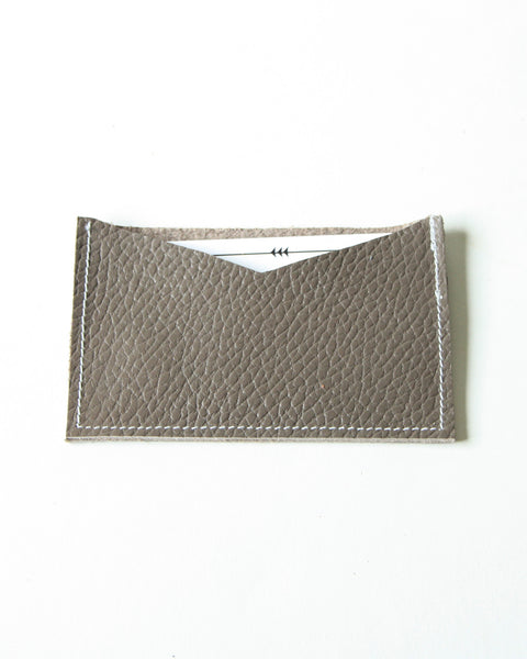 card wallet - taupe pebble leather