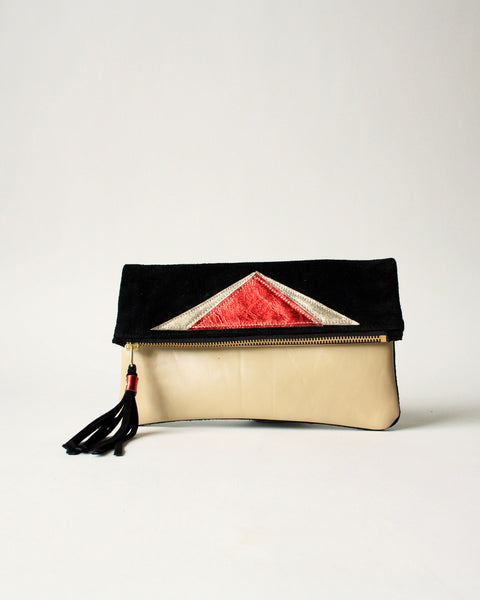 tan and black with metallic red handmade leather clutch