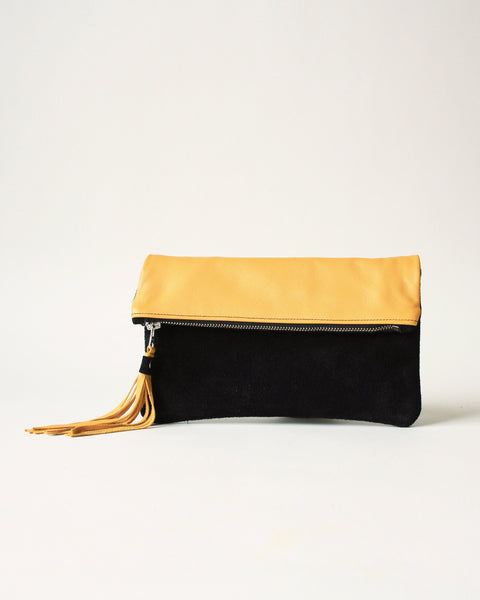 yellow leather handmade zipper fringe clutch