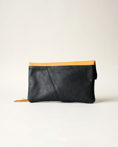 yellow and black leather fold over clutch