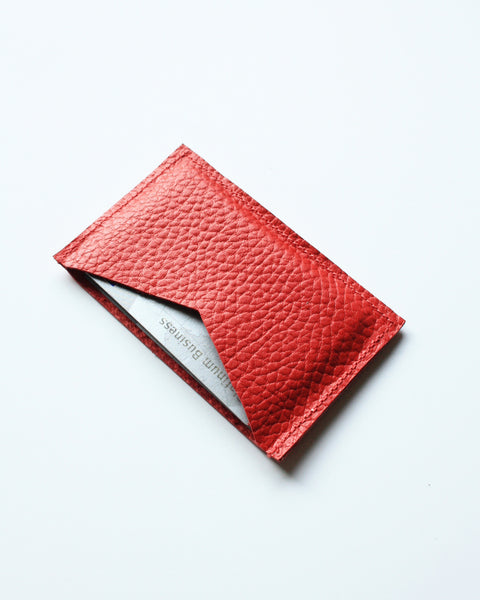 card wallet - red pebble leather