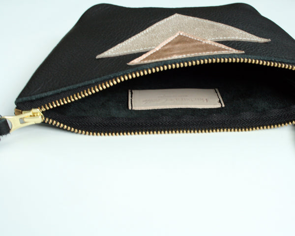 Wristlet Leather Clutch -Silver Geo 2