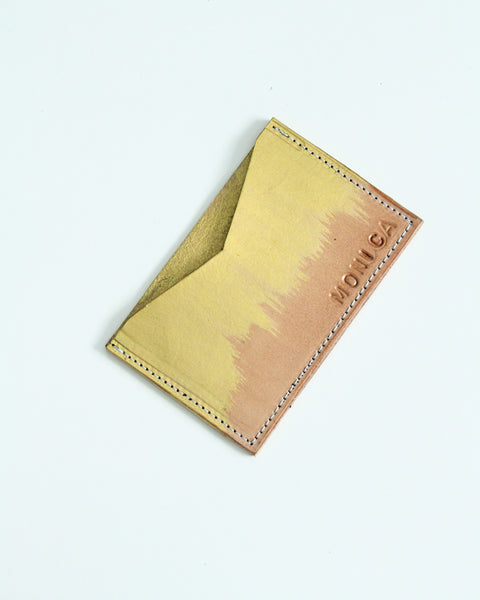 Customizable card wallet - gold + natural veg tan leather