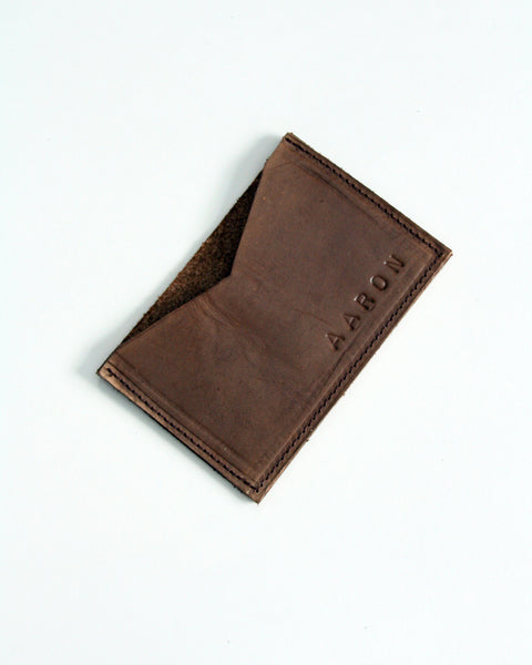 Customizable card wallet - Choose your colour on natural veg tan leather