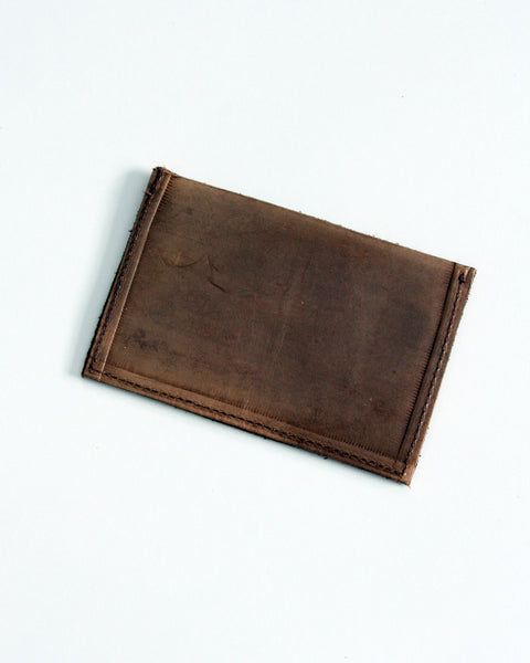 Customizable card wallet - brown veg tan leather